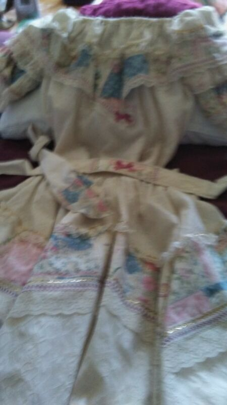 2 piece SD dance dress, size M, ruffled lace, cream, blue & pink + gent
