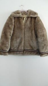Hansa Branta by Stearns Faux Fur Goose Down Eskimo Coat w/ striped cuffs S / L