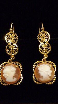 RARE Antique Victorian 9ct Yellow Gold Carnelian Cameo Drop Chandelier Earrings