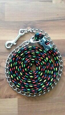 -Adjustable End Showman Nylon Curb Chain -PINK -NWT -Double Chain