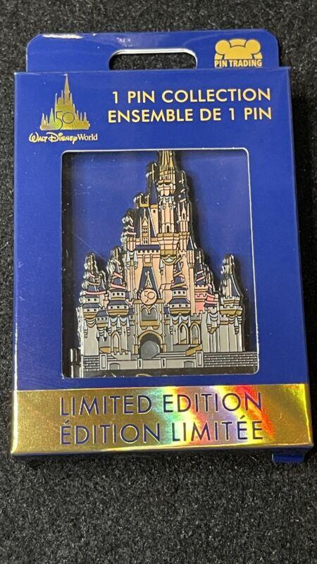 Disney 50th Anniversary Cinderella Castle Jumbo Pin New LE 3000 Pin In Hand