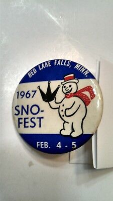 Vintage Collectible Button Pin Back Sno-Fest Red Lake Falls, MN 1967 Nice!