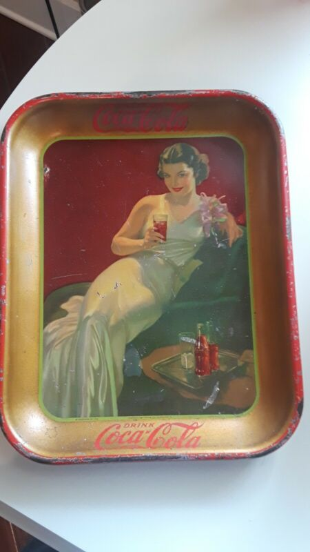 Vintage 1936 Glamour Girl Coke Coca Cola Tray In Nice Condition
