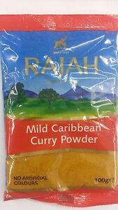 CARIBBEAN CURRY POWDER MILD - 100G - RAJAH - FINEST QUALITY