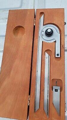 Starrett No C359 Universal Vernier Bevel Protractor With Scales Clamp Wooden Box