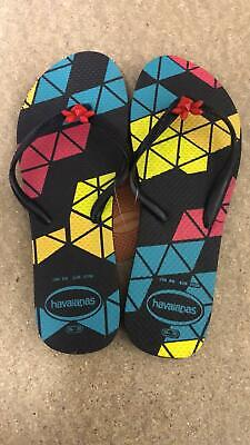 Havaianas Slim WOMENS Flip Flops Sandals - Black Blue