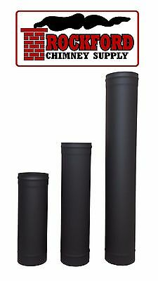 Black Single Wall Chimney Stove Pipe 8 in. Diameter, Variety of Lengths