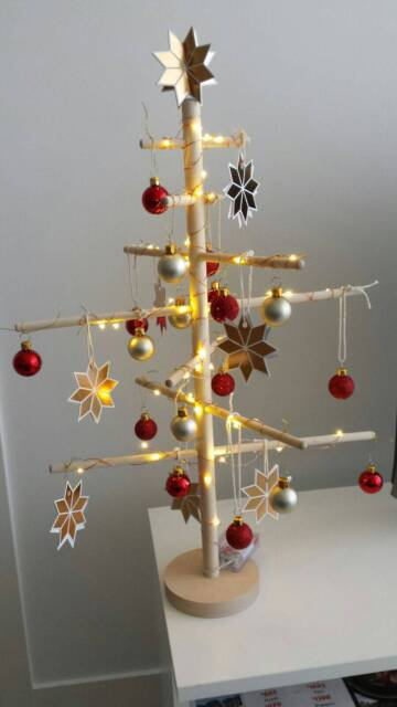 Wooden Swedish Christmas Tree Led Lights And Decorations
