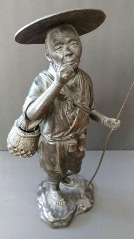 "Antique Heavy Japanese Cast Bronze Farmer Fisherman  Sculpture Statue 16"" Tall"