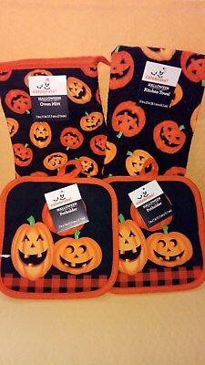 Mitte Halloween 2 (Halloween kitchen black & orange pumpkin 2 pot holders and1 mitt set and 1 towel)
