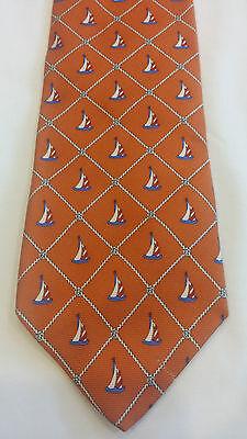 Brooks Brothers Makers Tie Orange Sailboats 100% Silk