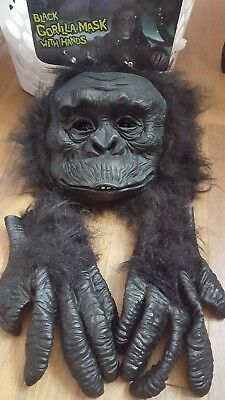Gorilla Mask and Hands Set Costume  Black Hairy Halloween Latex Adult