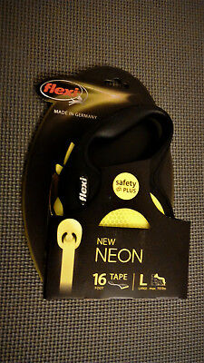 Flexi Neon Reflect Black & Neon Yellow Retractable Tape Dog Leash LARGE, 110 lb