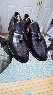 Vintage EUC Allen Edmonds Berwick Black Calf Wingtips Tassel Loafers Dress Shoes