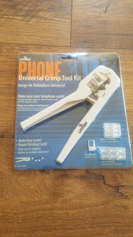 Leviton  Universal Phone Crimping Kit Tool w 12 Cord Plugs 830-C5890 Crimper NEW