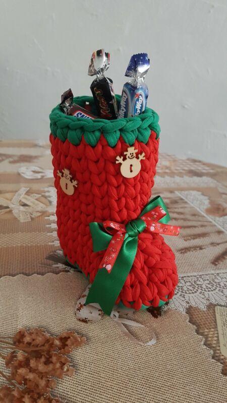 Handmade+T-shirt+yarn+Crocheted+Christmas%C2%A0+decorations