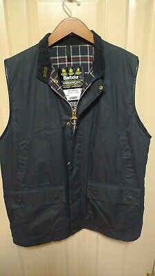 BARBOUR-  A225 WESTMORLAND WAXED COTTON WAISTCOAT & PIN -NAVY- MADE @ ENGLAND-XL