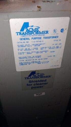 T279748S - ACME ELECTRIC, SINGLE PHASE, 60 HZ , PRIMARY 120/208/240/277v,