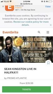 TWO REGULAR SEAN KINGSTON TICKETS SOLD OUT