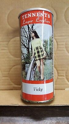 """Tennents """"young"""" Vicky from the Lager Lovely Beer can bar display Scotland"""