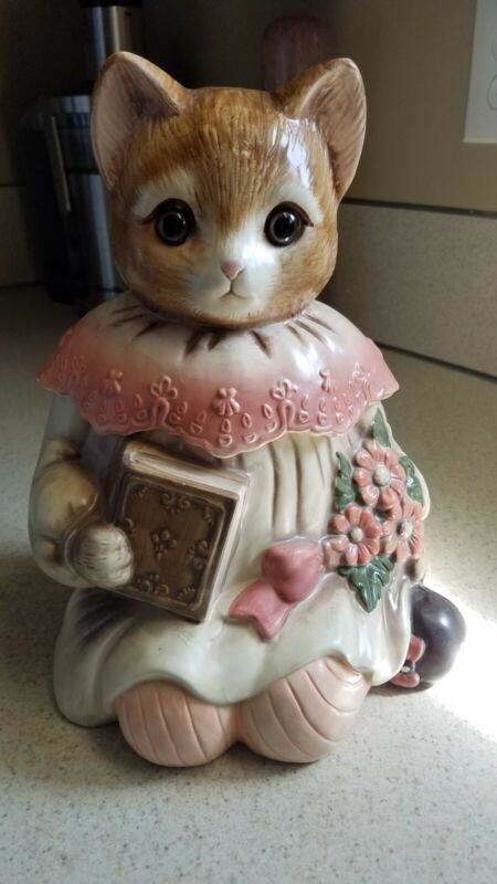 VTG COOKIE JAR Emily The Cat Ceramic w/Glass Eyes Made In Japan.