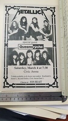 VINTAGE RARE METALLICA ticket stub & flyer @ CIVIC ARENA Pittsburgh PA 1989