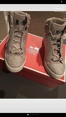 Genuine COACH Penda Suede Crystal Studded Hi Top Trainers Shoes Size 5 Uk
