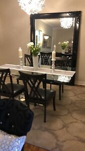 Floor Mirror and Designer Glass Dining Table