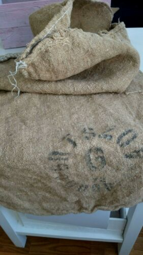 Antique Vtg GRAIN SACK feedsack Rustic hemp black writing GRAINSACK/3/