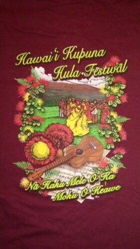 Hawaii Kupuna Hula Festivals T-shirt - Hanes Beefy Size 2XL Very Nice Burgandy!