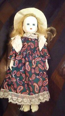 "Vintage Emson 11"" Tall Victorian Porcelain doll Green w/ Red Paisley Print Dress"