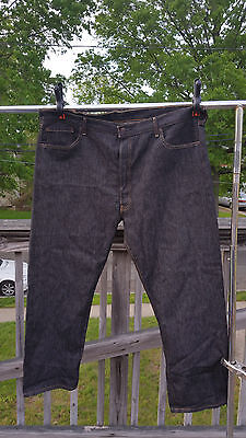 Levis 501 44x32 Original Fit Jeans Button Fly Clean Rigid (Black)