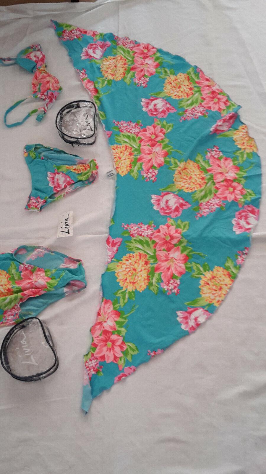 Badeset (Bikini, Badeanzug, Hüfttuch), Größe 36 Cup a,