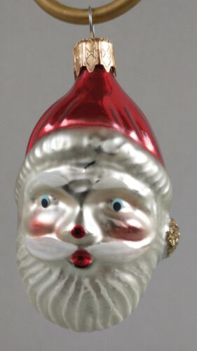 """CHEERFUL Vintage """"Santa Clause Face"""" Mercury Glass COLOMBIA Christmas Ornament"""