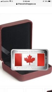 $50 Canadian flag silver coin