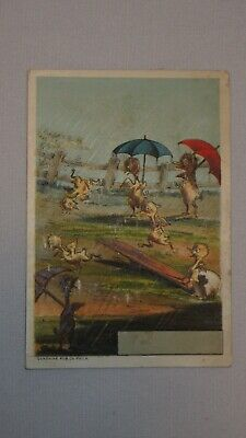 Ducklings Ducks Chicks Baby Birds in Rain w/ Umbrellas Victorian Trade Card