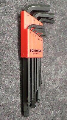 BONDHUS Balldriver 9-Piece Metric L-Wrench Set, Hex Key Set Metric Balldriver L-wrench