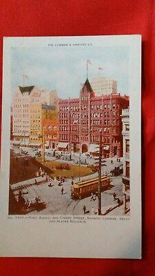 SEATTLE WA FIRST AVE/CHERRY ST (LOWMAN, BAILEY & ALASKA BLDGS) Vintage POSTCARD