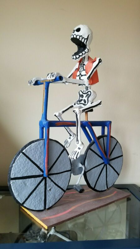 Vintage Mexican Folk Art Skeleton Riding a Bike Day of the Dead cool unique