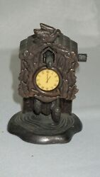 Vintage Die-Cast Miniature Antique Bronze Finish Cuckoo Clock Pencil Sharpener