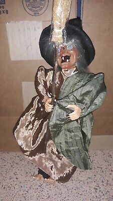 """Vintage Halloween Animated Witch/Broom Figure Decoration Red Eyes & Movement 14"""""""