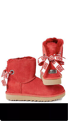 UGG CUSTOMIZABLE BAILEY BOW MINI RIBBON RED SUEDE WOMEN'S BOOTS SIZE US 8 NEW❤️