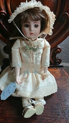 Antique Doll Reproduction Bruce Bisque Head Soft Body 17 Inches