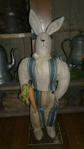 "Primitive Early Handmade Bunny Rabbit w/ Carrot One of A Kind Old Material 20"" T"