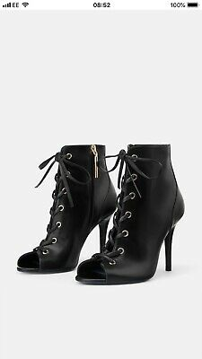 BNWT Zara Blue Collection Black Real Leather High Heel Lace-up Ankle Boots UK6