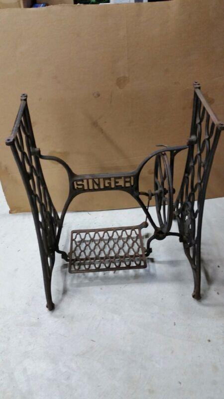 Singer Commerical Sewing Machine Cast Iron Treadle Base Vintage