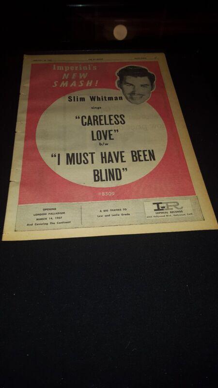 Slim Whitman Careless Love Rare Original 1957 Promo Poster Ad Framed!