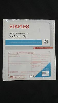 Staples 2015 Irs Tax W 2 6 Part Dot Matrix Form Set   Bonus W 2 Envelope