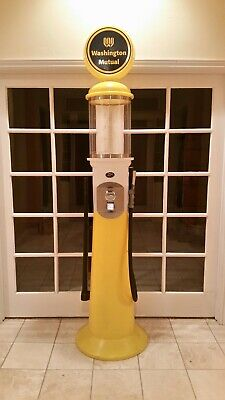 634-20 Vintage Gas Pump Gumball Machine Washington Mutual w/ 4 lbs New Gumballs