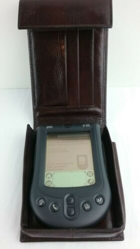Palm Pilot m100 Handheld Electronic Series Complete In TUMI Leather Case